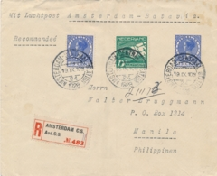 Nederland / Nederlands Indië - 1928 - R-Vliegbrief Met 2e Proefvlucht Van Amsterdam Via Batavia Naar Manila - Niederländisch-Indien