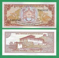 BHUTAN - 5 NGULTRUM – 1990 - UNC - Bhutan