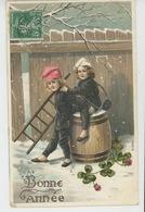 """ENFANTS - Jolie Carte Fantaisie Gaufrée Enfants Petits Ramoneurs De """"Bonne Année"""" (embossed Postcard) - Nouvel An"""