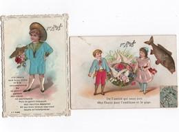Cartes Fantaises -x 2 - Enfants, 1er Avril -  Tissus En Relief  -  Format 11-111/2  X 7 - 8  Cms  -  Voir Scans - 1er Avril - Poisson D'avril