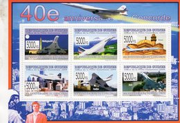 40e Anniversaire Du CONCORDE  - Republique De Guinée 2009  -  6v Sheet - Neuf/Mint/MNH - Concorde
