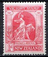 OCEANIE - Nelle ZELANDE - (Colonie Britannique) - 1919 - N° 170 - 1 P. Rouge Carminé - (Allégorie De La Paix) - Neufs