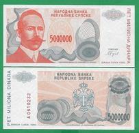 BOSNIA – 5 000 000 DINARA - 1993 -  UNC - Bosnië En Herzegovina