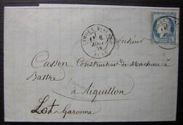 Limoux Sur Aude 1876 Laines T. Commez (filigranne Papier) Pour Aiguillon (Lot Et Garonne) - 1849-1876: Klassik