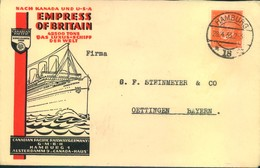 """1933, Envelope Advertising """"EMPRESS OF BRITAIN"""" For """"Canadian Pacific Railway Germany"""" - Maritime"""