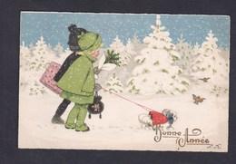 Jolie Carte Illustrée Signature F. B. Bonne Année Enfants Fillette Chien Paysage De Neige - New Year