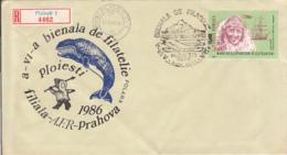 POLAR PHILATELY, PHILATELIC EXHIBITION, WHALE, ESKIMO, REGISTERED SPECIAL COVER, 1986, ROMANIA - Events & Commemorations