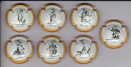 SERIE COMPLETA DE 7 PLACAS DE CAVA DE DIBUJOS DE JACQUES CALLOT (CAPSULE) - Placas De Cava