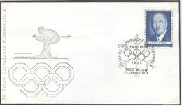AUSTRIA Olympic Cover With Handcancel 24-1-1974 Wien Opening Of The 1924 Olympic Games In Chamonix 50 Years Ago - Winter 1924: Chamonix