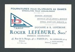 Carte De Visite PARIS - 45 Rue De La Harpe - DUCASSE Et LEFEBURE - MERCERIE - Cartoncini Da Visita