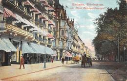 Cartolina Wiesbaden Wilhelmstrasse Mit Hotel Metropol Monopol 1910 - Cartoline