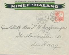 Nederlands Indië - 1928 - 12,5 Cent Wilhelmina Op Business Cover Nimef Van Malang Naar Den Haag - Niederländisch-Indien