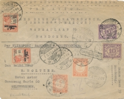 Nederlands Indië - 1929 - Curieuze Binnenlandse Vliegpost (?) - Heen En Terug Met 2x 10 Cent LP-zegel En 2x 5 Cent Port - Niederländisch-Indien