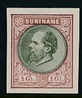 Suriname - 1888 - 1 Gulden Willem III - Proevenboek 13f Bruin Met Olijf - Suriname ... - 1975