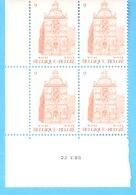 Bloc De 4 Timbres (coin Daté)-1986 COB N° 2218-Tourisme En Belgique-Wavre-Waver-Hôtel De Ville 1662 - Blocks & Sheetlets 1962-....