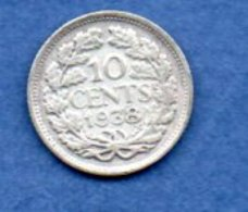 Pays Bas -  10 Cent 1938   -  KM # 163 -  état  TTB - [ 3] 1815-… : Koninkrijk Der Nederlanden