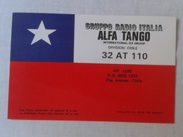 POSTAL POST CARD QSL RADIOAFICIONADOS RADIO AMATEUR GRUPPO ALFA TANGO ITALIA DIVISION CHILE CHILI FLAG BANDERA..VE FOTOS - Tarjetas QSL