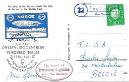 """EVLA0009-N° Mi 303 TEGLINGEN S:CP V. LEUVEN (B). VIGNETTE BALLON NORGE - """"On Board Of Freeballoon Oxygenium"""" JUNI 1961 - [7] République Fédérale"""