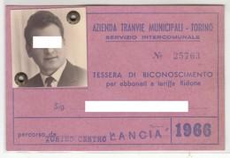 TRAM TRAMWAYS BUS TRANVIE MUNICIPALI TORINO - TESSERA BIGLIETTO TICKET DI ABBONAMENTO 1966 - Abbonamenti