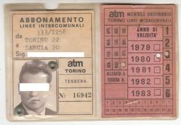 TRAM TRAMWAYS BUS TRANVIE MUNICIPALI TORINO - TESSERA BIGLIETTO TICKET DI ABBONAMENTO 1980 - Abonnements Hebdomadaires & Mensuels