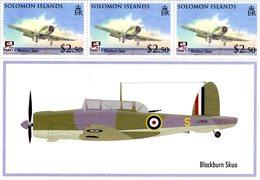 BLACKBURN SKUA  -    Solomon Islands  3v Sheet  -  Neuf/Mint/MNH - Avions