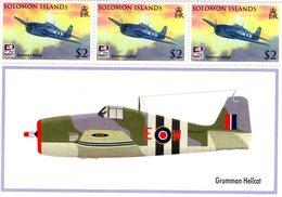 GRUMMAN HELLCAT  -    Solomon Islands  3v Sheet  -  Neuf/Mint/MNH - Avions