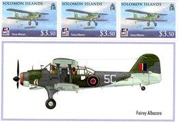 FAIREY ALBACORE  -    Solomon Islands  3v Sheet  -  Neuf/Mint/MNH - Avions