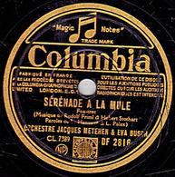 78 Trs - Colombia DF 2816 - état B - JACQUES METEHEN & EVA BUCH -  SERENADE A LA MULE - L'HOMME A LA MANDOLINE - 78 T - Disques Pour Gramophone