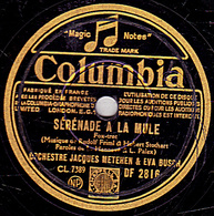 78 Trs - Colombia DF 2816 - état B - JACQUES METEHEN & EVA BUCH -  SERENADE A LA MULE - L'HOMME A LA MANDOLINE - 78 Rpm - Gramophone Records