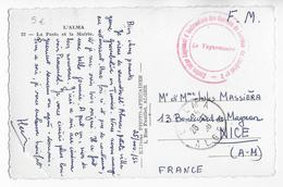 GUERRE ALGERIE  - 1956 - CARTE FM Du CENTRE D'INSTRUCTION Des RECRUES Du MATERIEL à L'ALMA => NICE - Guerra D'Algeria