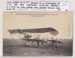 VIGNETTE AVION REIMS BETHENY SUR CP 2EME SEMAINE 9/7/1910 PILOTE LEGAGNEUX. - Aviation