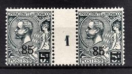 MONACO 1923 / 24  -PAIRE  Y.T. N° 72 - NEUFS ** MILLESIME 1 - Unused Stamps
