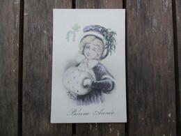 CPA ILLUSTRATEUR R. MAURY BONNE ANNEE FILLETTE CHAPEAU MANCHON - Other Illustrators