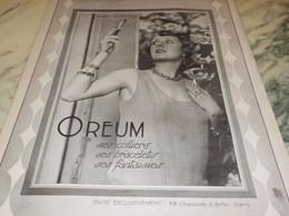 ANCIENNE  PUBLICITE COLLIERS BRACELETS LE OREUM  1926 - Jewels & Clocks