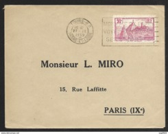 Enveloppe Avec Oblitération Tours- R.P. Indre Et Loire-N°290 - Marcofilie (Brieven)