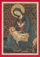 CARTOLINA VG ITALIA - GENTILE DA FABRIANO - La Madonna Che Contempla Il Divin Figlio - 10 X 15 - 1961 - Pittura & Quadri