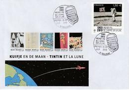APOLLO 11 - TINTIN Et La Lune, Premier Pas De L'homme Sur La Lune, France 2019 - FDC & Commémoratifs
