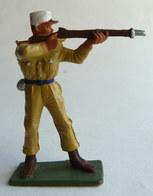 SOLDAT FIGURINE FIG STARLUX 1958 SOLDAT LEGIONNAIRE 5091 TIREUR Fusil Debout Socle Vert Kaki - Starlux