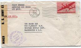 NOUVELLE-CALEDONIE LETTRE CENSUREE AFFRANCHIE AVEC LE PA  6c ROUGE DES ETATS-UNIS AVEC OBL. APO 502 (NOUMEA) DU 16-8-44 - Luftpost