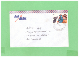 1987 AUSTRALIA AIR MAIL COUVERT WITH 1 STAMP TO SWISS - 1980-89 Elizabeth II