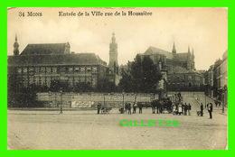 MONS, BELGIQUE - ENTRÉS DE LA VILLE, RUE DE LA HOUSSIÈRE, TRÈS ANIMÉE - EDITION, DUWEZ-DELCOURT - - Mons