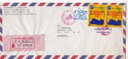 1976 EL SALVADOR AIRMAIL CIRCULEE TO ARGENTINE. TIMBRE A PAIR, REGISTERED- BLEUP - Salvador