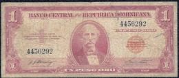 """Dominican Republic 1 Peso 1962, """"F"""" Old Banknote - Dominicana"""