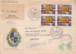 1978 URUGUAY FDC CIRCULEE TO BRASILIA. 50 ANIVERSARIO IMES- BLEUP - Uruguay