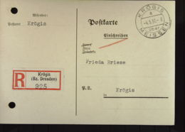 DR: Orts-R-Karte Aus KRÖGIS über MEISSEN A -4. 5.37.-8 (925) Als Postsache!!  Kte Mit Aktenlochung Knr: Ps - Deutschland