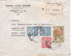 1950 PARAGUAY COMMERCIAL COVER- HERNAN CASAL RIBEIRO MADERAS. CIRCULEE TO ARGENTINE, REGISTERED. MIXED STAMPS- BLEUP - Paraguay
