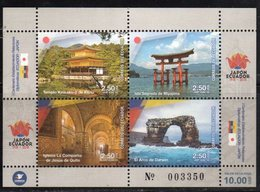ECUADOR, 2018, MNH,DIPLOMATIC RELATIONS WITH JAPAN, MOUNTAINS, CHURCHES, TEMPLES, SHEETLET OF 4v - Churches & Cathedrals