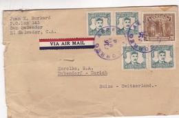 1947 EL SALVADOR COVER CIRCULEE TO SWITZERLAND. VIA AIR, TIMBRES A PAIR - BLEUP - Salvador