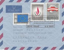 ÖSTERREICH FP Brief 1969 - 3 Sondermarken Frankierung Gel.v. Graz > Melbourne Australien - Luftpost