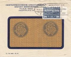 ÖSTERREICH Bank Brief 1937 - 24 Gro Auf Brief Gel.v. Graz > ? - 1918-1945 1. Republik